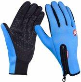 Wintersport handschoenen - blauw - maat M - grip functie