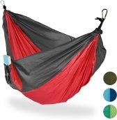 relaxdays hangmat outdoor - XXL - hang mat 2 personen - extreem licht camping - tot 200 kg rood
