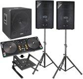 Complete 2.1 actieve Live set 1100W met subwoofer, tops, DJ controller, statieven en kabels