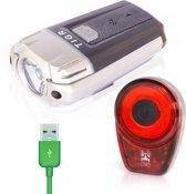 TIGR Ultraheldere LED Fietsverlichtingsset - USB Oplaadbaar - 300 Lumen - Inclusief Siliconenhouders - 2019 Model Met Lage-Batterij Indicator