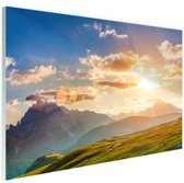 Zonsondergang in de bergen Glas 180x120 - XXL cm - Foto print op Glas (Plexiglas wanddecoratie)