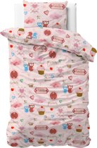 Dreamhouse Flanel - Small Love - Kinderdekbedovertrek - 100x140cm - Roze