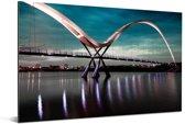 De verlichte brug tijdens de avond Aluminium 180x120 cm - Foto print op Aluminium (metaal wanddecoratie) XXL / Groot formaat!