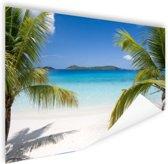 Tropische palmen op het strand Poster 90x60 cm - Foto print op Poster (wanddecoratie woonkamer / slaapkamer) / Zee en Strand