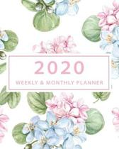 2020 Weekly and Monthly Planner: Calendar Schedule Academic Organizer Wide Lined Notebook with Hydrangea Floral Cover