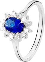 Lucardi Zilveren Ring - Met Blauwe Zirkonia - Maat 57