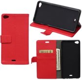 Litchi Cover wallet case hoesje Wiko Rainbow Lite 4G rood