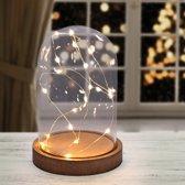 Glazen Stolp met Led Verlichting - Deco - 16 cm - 20 LED lichtjes - Kerst Rage