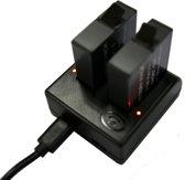 Dubbele AHDBT-501 Batterij Oplader met V8 / Type-C USB Poorten & LED Indicator verlichting voor GoPro HERO 5