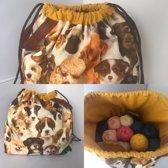 Project bag, haaktas L, Hondenprint | Haaktas | Breitas | Handwerktas