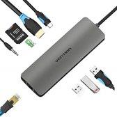 All in One USB-C C Type USB C naar RJ45/HDMI/Audio 3.5mm/USB 3.0 /USB-C/TF/SD Female Adapter