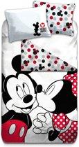 Disney Mickey Mouse Kiss - Dekbedovertrek - Eenpersoons - 140 x 200 cm - Multi