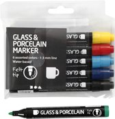 Creotime Verfstift Glas- & Porselein 6 Stuks Standaard Multicolor