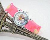 Meisjes horloge roze met Frozen afbeelding Elsa en Anna
