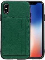 Staand Back Cover 2 Pasjes voor iPhone X Groen