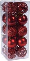 20x Rode kunststof kerstballen 6 cm - Glans/mat/glitter - Onbreekbare kerstballen plastic - Kerstboomversiering rood