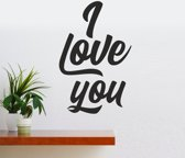 Muursticker - I Love You - Zwart 58x90