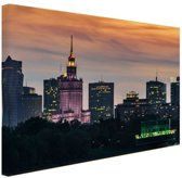 Warschau wolkenkrabbers Canvas 60x40 cm - Foto print op Canvas schilderij (Wanddecoratie woonkamer / slaapkamer) / Steden Canvas Schilderij