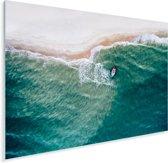 Een luchtfoto van een vissersbootje Plexiglas 40x30 cm - klein - Foto print op Glas (Plexiglas wanddecoratie)