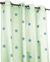 Klant-en-klaar gordijn mintgroen met turquoise sterren print, met ringen, 140x270cm