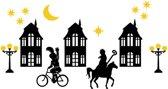 Raam sticker set Sinterklaas huisjes Herbruikbaar statisch | Rosami