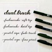 6 stuks Kwaliteits Handlettering Brush/Pennen + 20 Vel Wit Handlettering Karton + 1 Blender + een Etui.
