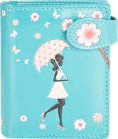 Shagwear Portemonnee - Compact Beugelportemonnee - Dames - Kunstleer - Blossom Shower (0574sm)