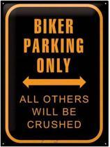 Biker Parking Only  Metalen wandbord in reliëf 30x40 cm