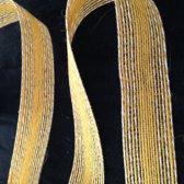 Jute geel met witte stitch, 25 mm x 10 meter