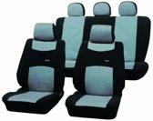 Auto Stoelhoezenset Voorstoelen + Achterbank - Zwart met  grijs - 9-delig - ook geschikt voor Side-Airbags