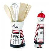 ComfortTrends Peper en zout molen Met keukengereihouder Franse stijl - Rood, wit en zwart