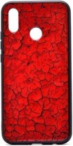 Teleplus Honor 10 Lite Pane Marble Patterned Case Red + Nano Screen Protector hoesje