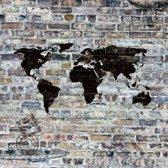 Art for the Home - Fotobehang - Wereldkaart - Zwart/grijs - 260x212 cm