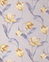 Bloemen behang weelderig tulp EDEM 828-22 patroon hoogwaardig behang licht grijs blauw goud bruin | 70 cm