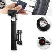 Mini Fietspomp Met Drukmeter Manometer - Fiets Minipomp Frame Pomp - Dunlop/Presta/Frans/Hollands/Auto Ventiel - Hoge Druk Handpomp