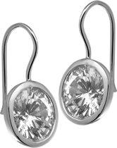 The Jewelry Collection Oorhangers Zirkonia - Zilver Gerhodineerd