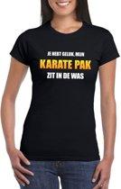 Karatepak zit in de was dames carnaval t-shirt zwart XS