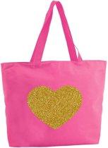 Gouden hart glitter shopper tas - fuchsia roze - 47 x 34 x 12,5 cm - boodschappentas / strandtas