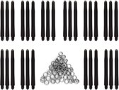 Dragon Darts zwarte dart shafts - 10 sets (30 stuks) - medium - darts shafts - plus 10 sets (30 stuks) veerringen