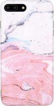 Luxe Marmer iPhone 7 Plus - 8 Plus hoesje Marmer roze - licht roze case - cover soft zacht