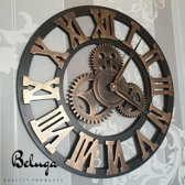 Beluga Quality Products - Handgemaakte Grote XL wandklok - Muurklok | Decoratieve retro 3D - Tandwiel - XXL klok - 45CM | Brons / Steampunk