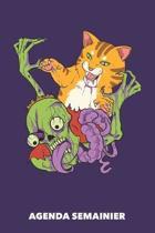 Agenda Semanier: Chats contre zombies A5 manuscrit florale - Carnet hebdomadaire 52 semaines pour propri�taires de chats