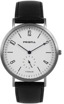 Prisma Herenhorloge P.1230 Lederen band Zilver