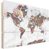 Wereldkaart met kleurrijke versiering Vurenhout met planken 120x80 cm - Foto print op Hout (Wanddecoratie)