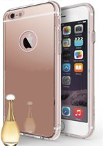 Apple iPhone 6 Plus / 6+ - Siliconen Spiegel Hoesje Rose Goud Achterkant (Roze Gold Mirror TPU Case)