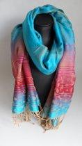 Mooie hippe sjaal van pashmina in de kleuren blauw rood roze groen creme breedte 70cm lengte 180cm.
