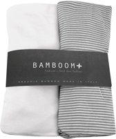 Bamboom Hoeslaken Jersey Streep Grijs 40 x 80 cm 2 stuks