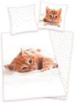 Kitten - Dekbedovertrek - Eenpersoons - 140x200 cm + 1 kussensloop 60x70 cm - Wit