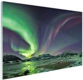Groen en paars noorderlicht Glas 120x80 cm - Foto print op Glas (Plexiglas wanddecoratie)