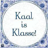 Delfts Blauwe Spreukentegel - Kaal is Klasse!